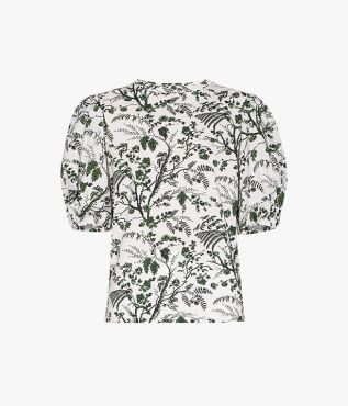 Theodora Top shaped with puffed sleeves and printed with the season's Wild Fern Botanical.