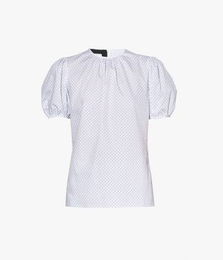 The Delora Top in white cotton poplin from Erdem SS21 collection.