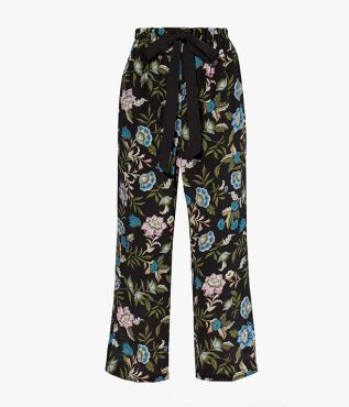 Horace Trousers Romney Floral Silk Crepe de Chine Black