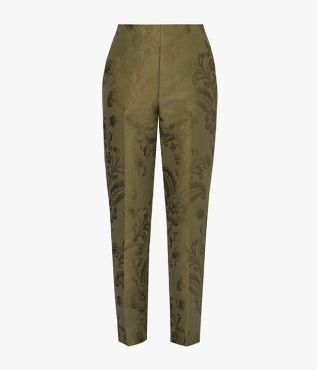 Vonda Trousers with oversized regency-inspired florals woven into the olive cotton jacquard.
