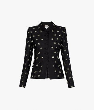 For SS21, Erdem crafted the Adam Jacket in black with a structured silhouette.