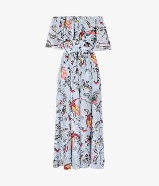 Algarve Dress in a pale blue artful print which incorporates colourful parrots.