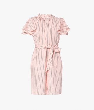 The Amalfi Playsuit is cut from pink cotton organza that's printed with navy pinstripes.