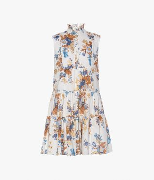 Porto Dress in cotton and linen decorated with the Vanessa Bouquet print.