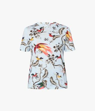 Hettie T-shirt in a Paisley Parrot print incorporating colourful birds and delicate vines.