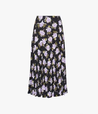Erdem Vesper Skirt Wiltshire Wallpaper Jersey Black