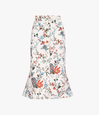 Victorine Skirt in soft white denim for a relaxed take on florals.