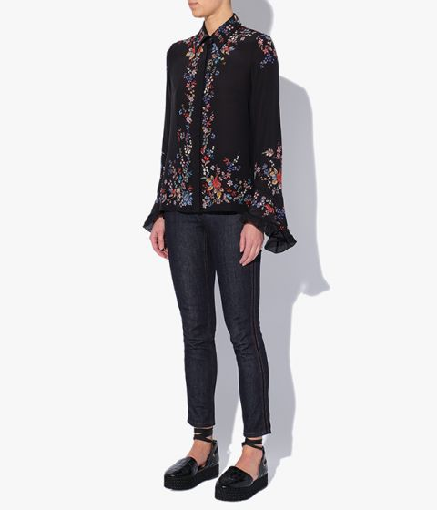 The Alaric button-down shirt is cut from lightweight black silk crepe de chine.