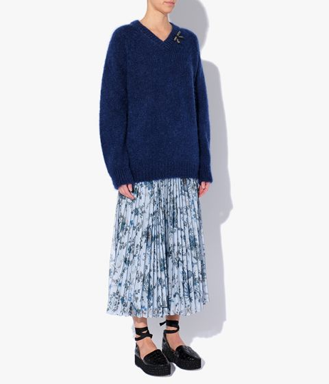 The Annamae Jumper is knitted from a textural blend of mohair and wool for a soft handle.