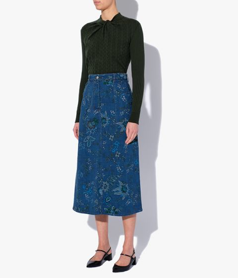 Hogarth Vine printed denim midi skirt from the pre fall collection.