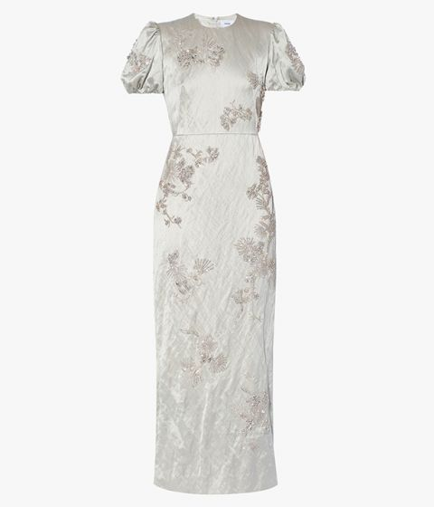 The Arvilla Dress has been crafted from putty-hued textured satin and embroidered with crystals in floral formations.