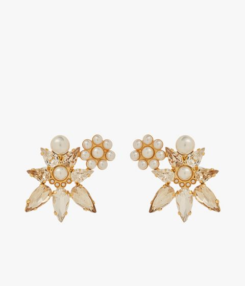 Designed to resemble a floral motif, these earrings combine faceted clear crystals and elegant faux pearls encased in a gold-tone setting.