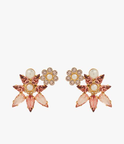 Earrings in gold-tone brass which combine pink faceted crystals and faux pearls.