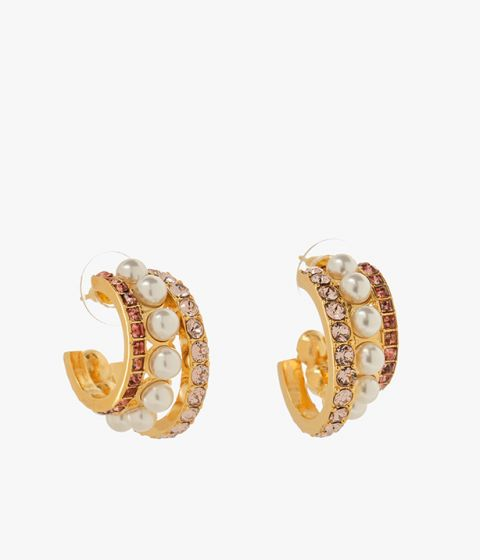 Hoop earrings from Erdem studded with a mixture of crystals and faux pearls.