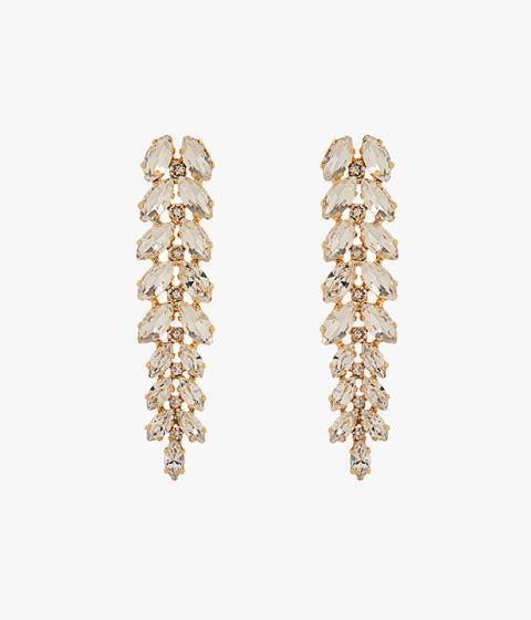 These ornate earrings are made up of navette crystals and have a clip-on back suitable for non-pierced ears.