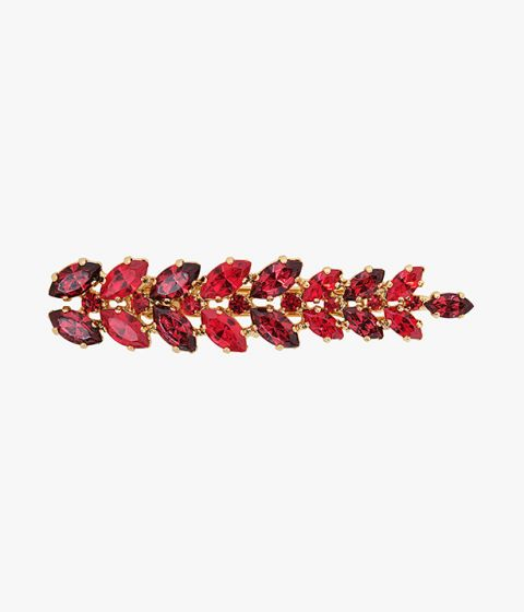 This red crystal hair barrette will lend your looks a colourful finish.