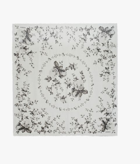 Decorated with this season's Fonteyn Rose print comes this lightweight modal and cashmere-blend scarf.