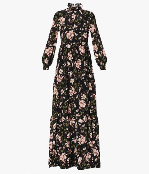 The Clementine Gown is crafted from lightweight silk crepe de chine that's decorated with this season's romantic Margot Posy print.