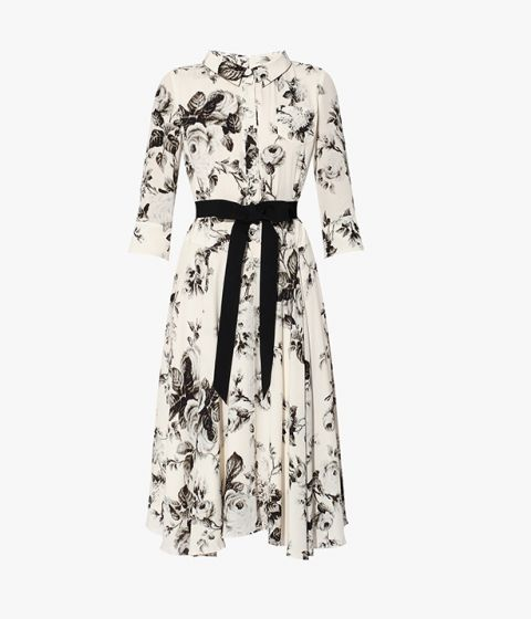 Dress in the illustrative Fonteyn Rose print, in ivory and charcoal, exclusive to Erdem.