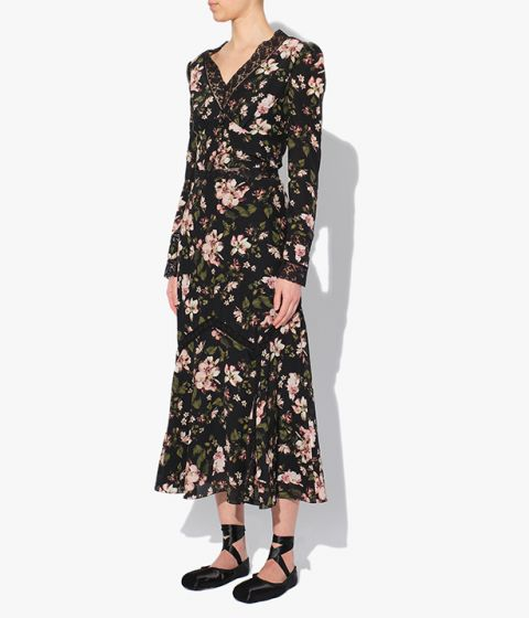 Midi length Shea Skirt in a pink floral and black background print from the Erdem Autumn Winter 2021 collection.