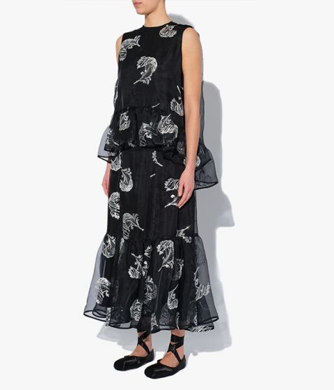 Erdem's Claudena Skirt is an ankle-length design cut from black silk-blend organza and decorated with contrasting sequinned feathers.