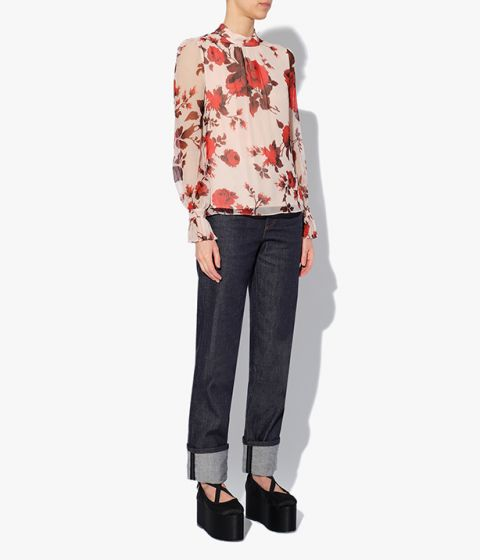 Long sleeved Barnaby Top in a pink and red meandering rose print which pays homage to ballerina Margot Fonteyn.