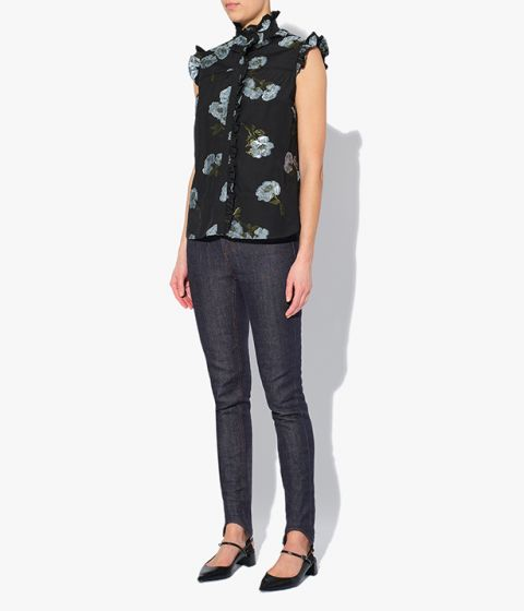 Erdem sleeveless Cyrus Top detailed with ruffled trims at the collar, shoulders and along the concealed button-fastening placket.