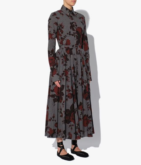 Bella Blouse from Erdem in grey and red cotton melange, design showcases this season's Fonteyn Rose print which is inspired by the ballet.