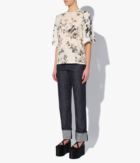 Erdem's ivory cotton jersey T-shirt for AW21 comes in an all-over rose print.
