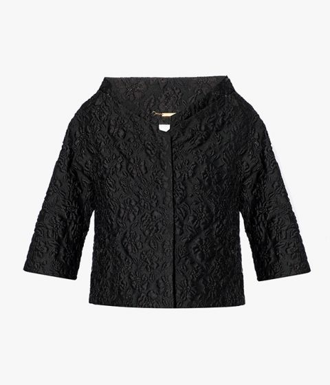 The Julia Jacket is cut from black, textural cloqué fabric and is part of the AW21 collection.