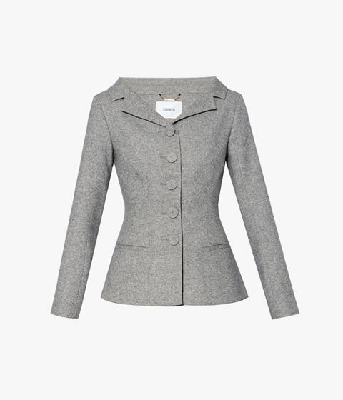 Erdem's AW21 Joy Jacket cut from grey tailoring fabric for a structured silhouette.
