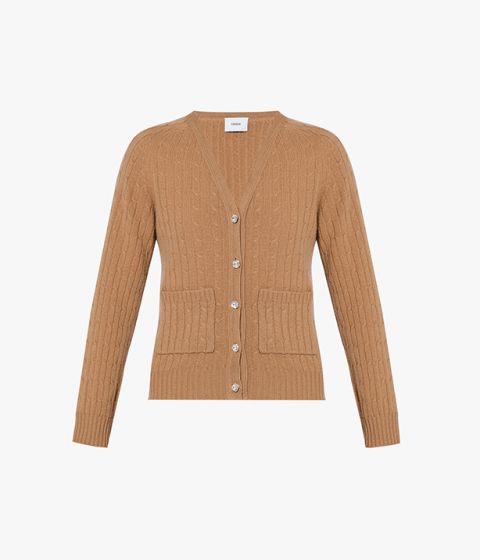 Erdem camel cardigan crafted from a blend of merino wool and cashmere.
