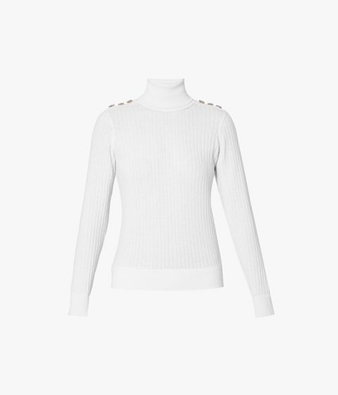 The Bessy Jumper is crafted from a blend of merino wool and cashmere in fresh white.