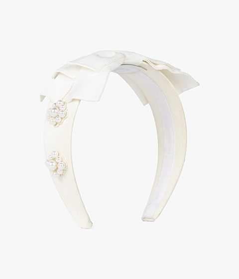 Ivory grosgrain headband from Erdem. It is detailed with a bow and a cluster of faux pearls.