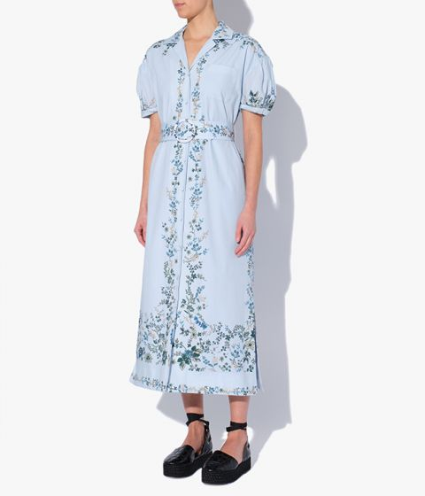 Pale blue Frederick Dress with button down front and a belted waist.