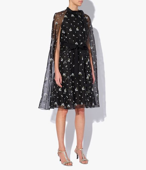 Verdie Dress from Erdem in black embroidered with intricate white flowers.