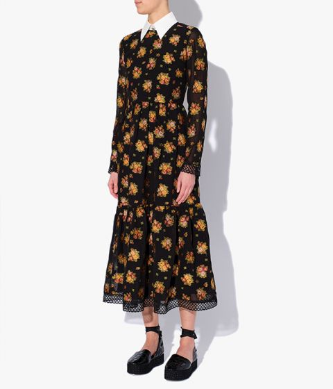 Erdem's midi length Murl Dress is crafted from lightweight cotton fil coupe that's decorated with colourful florals.