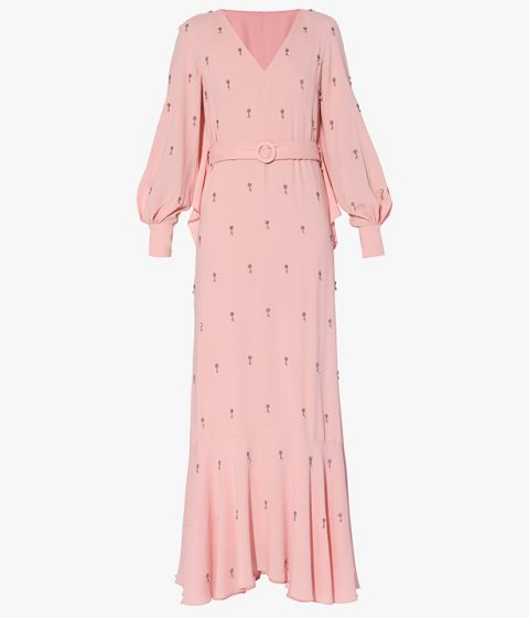 The Georgene Dress is cut from pale pink crepe de chine, decorated with ditsy floral embroidery.