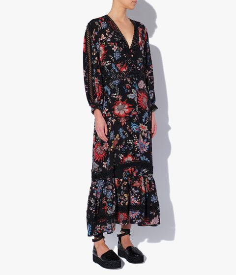 This ankle-length dress made from black silk crepe de chine that's decorated with the season's Hogarth Vine print.