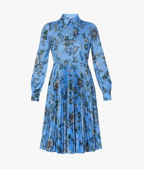 The Filomena Shirt Dress from Erdem has a button-down front and pointed collar.