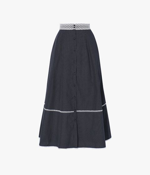 The Mervyn Skirt is cut from crisp cotton poplin and shaped for a structured, A-line silhouette.