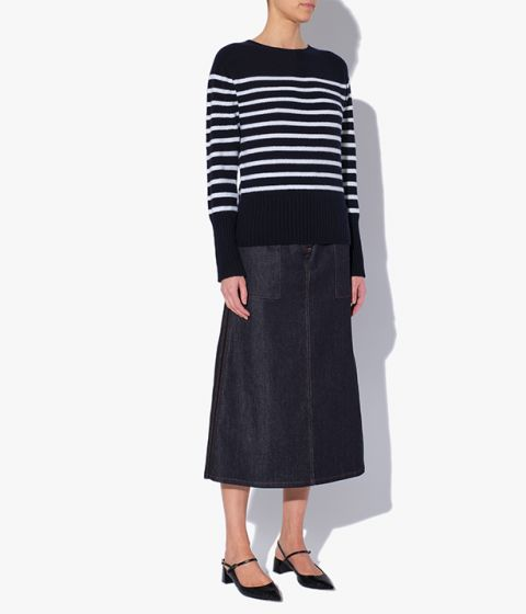 Lotus Sweater in a navy and white striped design which nods to traditional Breton styles.