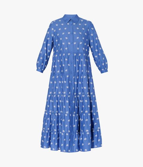 Patmos Dress cut from crisp cotton poplin, this blue design is delicately embroidered with white ditsy florals.
