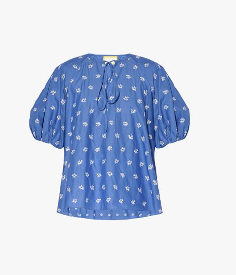 Monaco Top in lightweight, blue cotton poplin that's detailed with delicate white embroidery.