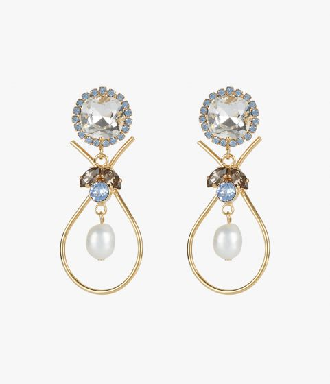 These drop earrings combine gold-tone teardrops with an array of blue, grey, and clear crystals.