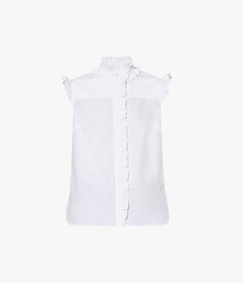 A ruffled collar and trims reflect the Romantic Shirt's evocative name.