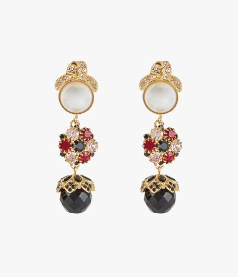 Knot motif earrings with a cluster of faux pearls, black, red and clear crystals.