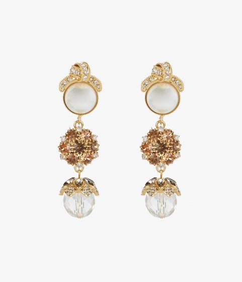 Statement earrings cast from polished gold-tone with clusters of smoked topaz crystals.