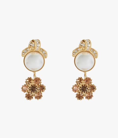Earrings in gold-tone bronze with a crystal-embellished knot.