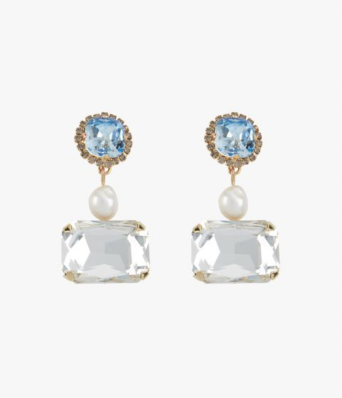 Gold-tone earrings with blue and clear crystals with faux pearls.